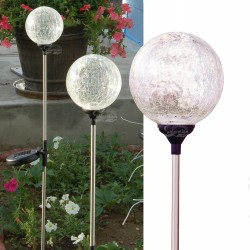 "3.5"" Dia. Crackle Glass Ball Solar Lights: 24 units/Case"