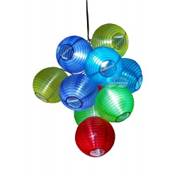 10 LED Color Fabric Lanterns Solar String Lights: 20 units/Case
