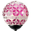 Pink Mosaic Glass Ball Solar Garden Stake Light: 12 units/Case