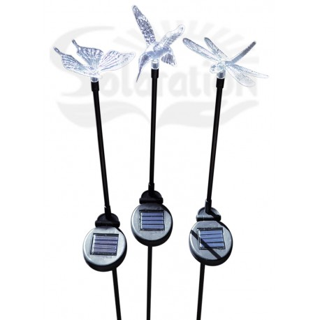 Hummingbird, Butterfly & Dragonfly with Black Stake Solar Lights, 3 units/Package