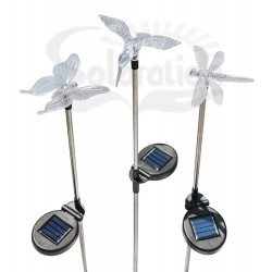 Hummingbird, Butterfly & Dragonfly Solar Silver Stake Lights, 27 units/Case