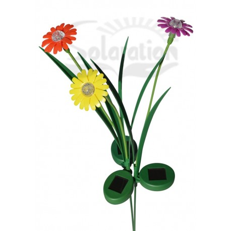 Red, Pink & Yellow Daisy Flower Solar stake Lights: 3 units/Package