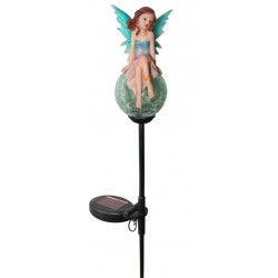 Blue Tinker Bell on Crackle Glass Ball Solar Garden Light: 12 units/Case