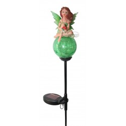 Green Tinker Bell on Crackle Glass Ball Solar Garden Light: 12 units/Case