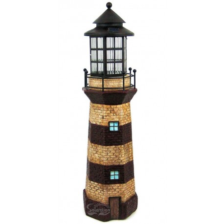 "39"" Tall Lighthouse Solar Light Statue with Ivory/Red Stripe: 1 unit/Case"