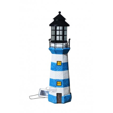 "39"" Tall Lighthouse Solar Statue with Ivory/Blue stripe, 1 unit/Case"