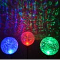 "Christmas Red,Green,Blue LED 3.5"" Dia. Crackle Glass Ball Solar Lights: 24 units/Case"