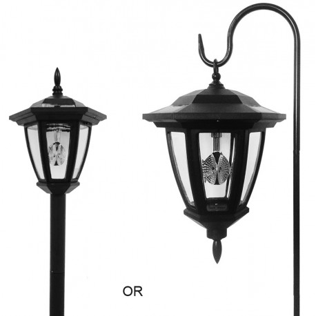 Solar Powered Vintage Lantern with Shepards Hook and Soil Stake: 12 units/Case