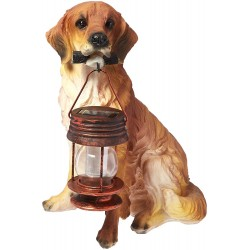 "15"" Golden Retriever Dog Garden Statue with Solar Lantern: 2 units/Case"